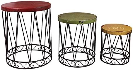 Attraction Design Metal Nostalgia Nested Table Set of 3