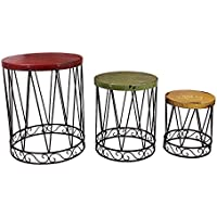 Y&K Decor Metal Nostalgia Nested Table (Set of 3)