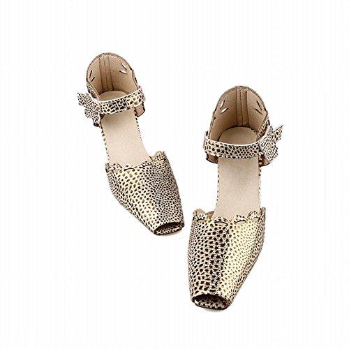 Carol Scarpe Chic Donna Sexy Lucido Modello Leopardo Cava Eleganza Grosso Sandalo Tacco Alto Oro