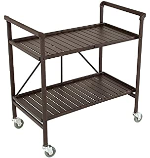 Exceptional Indoor Or Outdoor Folding, Metal, Rolling Serving Cart, Brown
