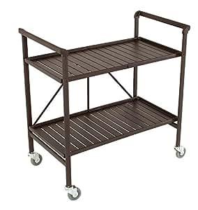 Indoor or Outdoor Folding, Metal, Rolling Serving Cart, Brown