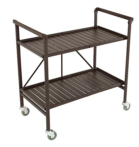 Indoor or Outdoor Folding, Metal, Rolling Serving Cart, Brown (Tv Stand Cart Bar)