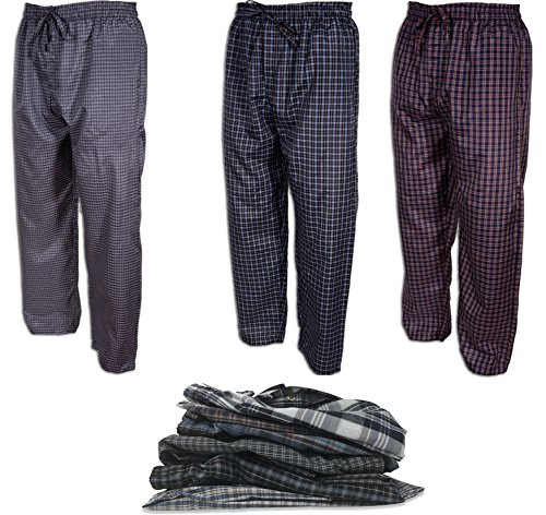 - Andrew Scott Men's 3 Pack Super Light Woven Pajama Sleep Lounge Pants (3 Pack - Various Assorted Plaids, XXX-Large)