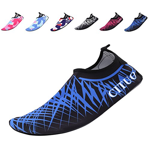 CIOR Mutifunctional Barefoot Shoes Men Women and Kids Quick-Dry Water Shoes Lightweight Aqua Socks For Beach Pool Surf Yoga Exercise ,CT1605,blue,42.43
