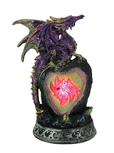 (Zeckos Metallic Purple Guardian Dragon On Color Changing LED Geode Statue)