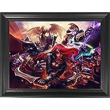"League of Legends Framed 3D Lenticular Poster -Katrina, Teemo, Kayle, Warwick, Ashe - 14.5x18.5"" - Unbelievable Life Like Framed 3D Art Pictures, Cool Art Deco, Unique Wall Art Décor, LOL Fan Art"