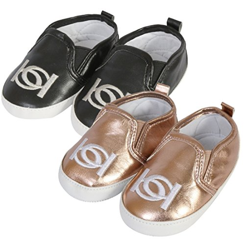 bebe Baby Girl\'s Slip On Crib Shoe Sneakers With Logo Embroidery, (2 Pack) Rose Gold/Black, 2 M US Infant' Designer Infant Shoes
