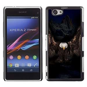 TECHCASE**Cubierta de la caja de protección la piel dura para el ** Sony Xperia Z1 Compact D5503 ** Eagle Majestic Black Bird Mountains Alaska