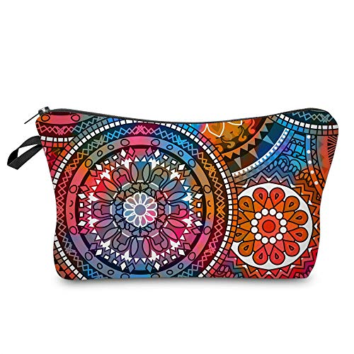 Cosmetic Bag for Women,Deanfun Mandala Flowers Waterproof Makeup Bags Roomy Toiletry Pouch Travel Accessories Gifts (51555)