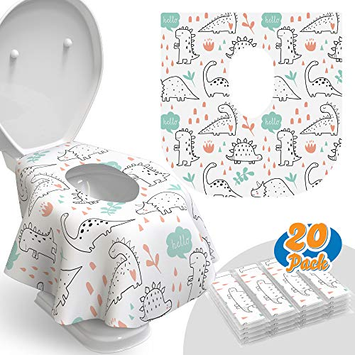Toilet Seat Covers Disposable - 20 Pack - Waterproof, Ideal for Kids and Adults – Extra Large, Individually Wrapped for Travel, Toddlers Potty Training in Public Restrooms