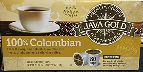 Java Gold 100% Colombian Medium Roast Coffee (For Use in All Single Serve Brewing Systems, Including Keurig 2.0)-80 Ct K-cup (Java Kitchen)
