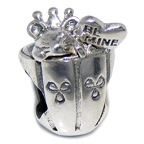 925 Solid Sterling Silver Mouse and Heart in a Cup Charm Bead (Mine Silver Crown)