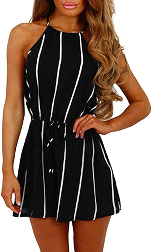 Homebaby ❤️Women Stripe Printing Off Shoulder Jumpsuits,Ladies Casual Clubwear Vest Playsuit for Holiday Summer Shorts Pants Rompers Beachwear Outfit Summer Clothes