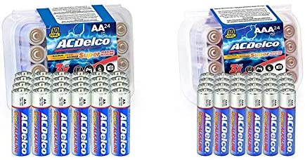 ACDelco 24-Count AA Batteries, Maximum Power Super Alkaline Battery, 10-Year Shelf Life, Recloseable Packaging & 24 Count (Pack of 1) AAA Batteries, Maximum Power Super Alkaline Battery