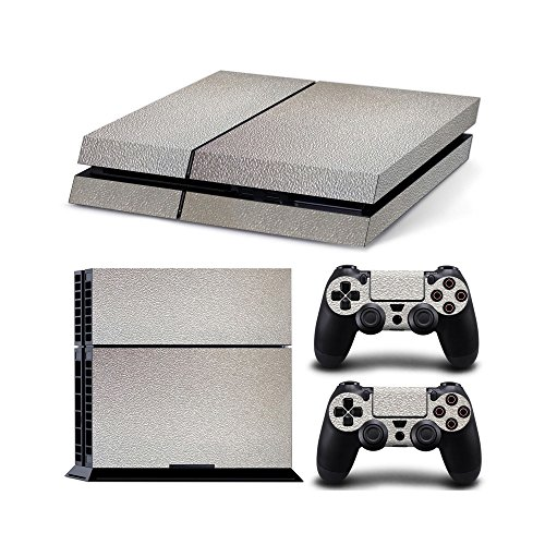 Gam3Gear Vinyl Sticker Pattern Decals Skin for PS4 Console & Controller- Leather Silver