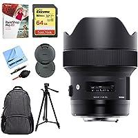 Sigma 14mm F1.8 DG HSM Art Wide Angle Full Frame Lens for Nikon (450-955) w/ 64GB Accessory Bundle includes, 64GB Memory Card, DSLR Camera Backpack, 72 Tripod, Corel Paint Shop Pro X9 + More