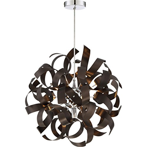 Quoizel RBN2817WT Ribbons Curved Metal Pendant Ceiling Lighting, 5-Light, Xenon 200 Watts, Western Bronze 17 H x 17 W