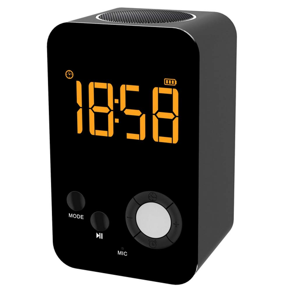 Wireless Bluetooth Speaker,BOOMER VIVI Dual Alarm Clock Metal Speaker with Large Mirror LED Display,Night Light,Perfect Portable for Home Outdoor Travel Parties (Black)