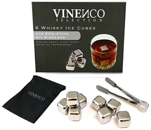 Whisky Steine Ice Cubes Set von VINENCO - 8 Wiederverwendbare Edelstahl Eiswürfel + Stoffbeutel | 8er Set Whiskey Rocks Stones
