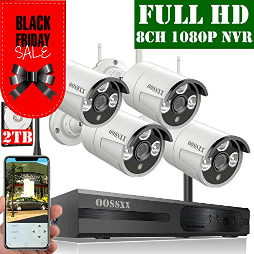 ?2020 Update? OOSSXX 8-Channel HD 1080P Wireless Security Camera System,4Pcs 1080P 2.0 Megapixel Wireless Indoor/Outdoor IR Bullet IP Cameras,P2P,App, HDMI Cord & 2TB HDD Pre-Install