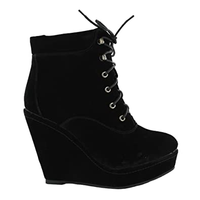 658b9963592 Perfect Me Womens Suede Black Lace Up Platform Wedge High Heel Boot Shoes