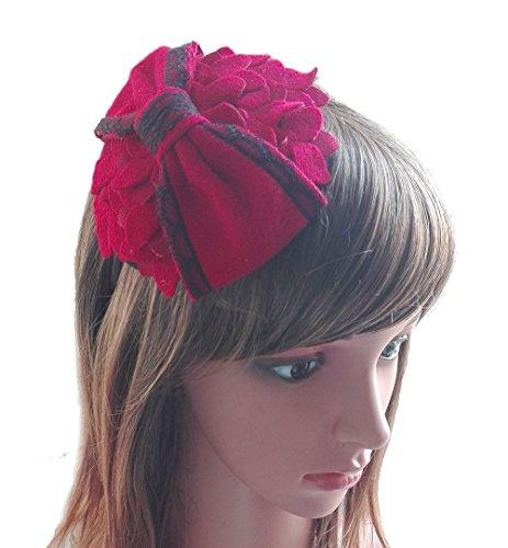 [Fascinator Headband Flower Bow Pillbox Hat Hair Hoop Headpiece British Women Red] (Ethnic Hats)