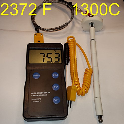 Kiln Oven Furnace Digital pyrometer F,C for Pottery Ceramic Glass fusing Annealing PMC Metal Clay Beads Enameling Forges Sensor Probe Thermometer Thermocouple 2372 Fahrenheit