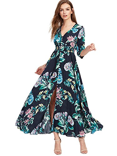 (Milumia Women's Button Up Split Floral Print Flowy Party Maxi Dress Large Blue-Green-1)