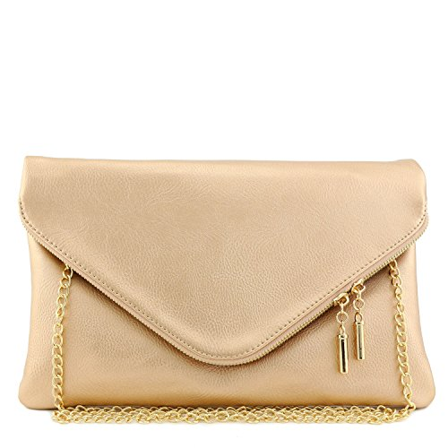 Large Envelope Clutch Bag with Chain Strap (Rose Gold) by FashionPuzzle