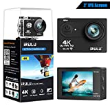 """iRULU Action Camera 4K 16MP WiFi Adjustable View Angle Sports Camera with 2""""IPS Screen 100 Feet Waterproof Camera Remote Control 2 Batteries Abundant Mounting Accessories Kit and Red Filter"""