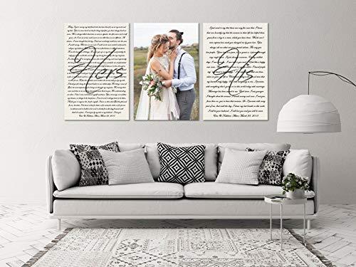 lagifi Set of 3 Canvas Prints, Wedding Vows Canvas, Wedding Vows and Photo, Custom Wedding Vows, Couple Wedding Vows Art, Personalized Vows 4050cm3pcs ()