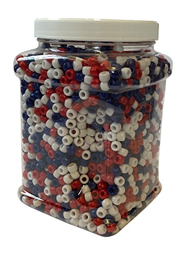 Plastic Pony Beads 9mm Bulk Tub Set Opaque Over 3,000 Count in Clear Storage Organizer (Red, White, Blue)