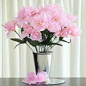 Tableclothsfactory 60 pcs Artificial IRIS Flowers - 12 Bushes - Pink 65