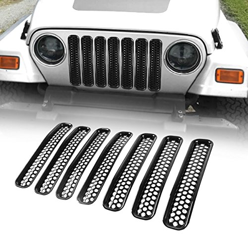 Metal Mesh Insert - ICARS Matte Black Mesh Grill Inserts Grille Guard Honeycomb Style for 1997-2006 Jeep Wrangler TJ Unlimited Rubicon Sahara - 7PCs