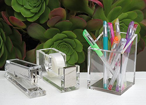 Acrylic & Silver Pencil and Pen Holder by OfficeGoods - A Classic Design to Brighten up Your Desk and Office by OfficeGoods (Image #4)'