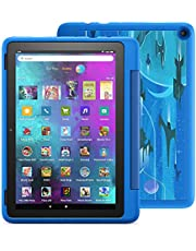 """Introducing Fire HD 10 Kids Pro tablet, 10.1"""" HD, ages 6–12, with 2-year warranty, thousands of apps, games, books and more included for 1 year, and kid-friendly case – Intergalactic"""