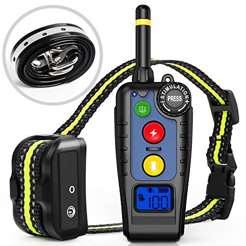 [Newest 2019] Dog Training Collar with Remote | Dog Shock Collar Rechargeable | Electronic Bark Collar 3 Training Modes | Long Range 2000FT & IPX7 Waterproof | E-Collar for Small, -