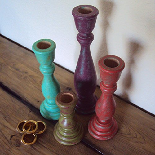 (Distressed Wood Candlestick Set - Colorful Boho Bedroom Decor - 4 Piece Bohemian Gypsy Taper Candle Holders - Handpainted Mantel Shelf Decor)