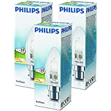 Philips 28W (35W) B22 Bayonet Cap Halogen Candle Bulb 2800K Warm White Dimmable (3 Pack)