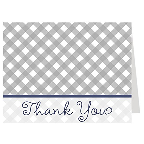 Denim Gingham (Thank You Cards, Baby Q, Barbecue, Baby Shower, Sprinkle, Boy, Navy, Blue, Gray, Grey, Gingham, Picnic, 50 Printed Folding Notes with White Envelopes,, BBQ, Birthday, Cookout)