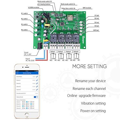ANRIS Sonoff 4CH Pro WiFi Wireless Smart Switch for Smart home, 4 Gang  Inching / Self-Locking / Interlock WiFi RF Smart Switch, Compatible with  Amazon