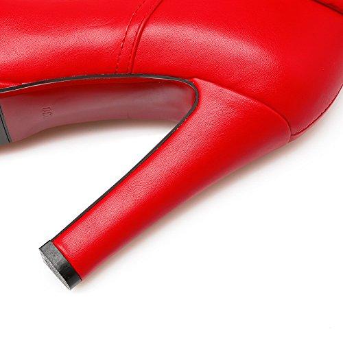 BalaMasa Girls Platform Buckle Zipper Imitated Leather Boots Red kD4UB1