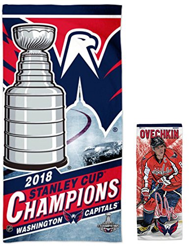 Wincraft Bundle 2 Items  Nhl Washington Capitals 1 Beach Towel 2018 Stanley Cup Champions Edition 30 X60  And 1 Alex Ovechkin Cooling Towel 12 X30