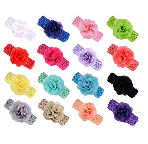 (KW Collection Girl Baby Headbands with Chiffon Rose Flower Elastic Crochet Hair Bands Ankle Wrist flower Hat Decoration (Band: 1.6