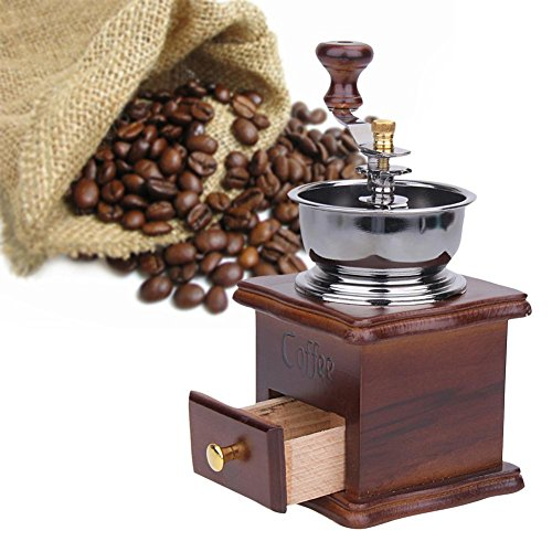 WA Antique Hand Coffee Grinder Wood Stand Metal Bowl Coffee Bean Mill Muller Drinking Coffee Tea Set Cafe Bar Accessories