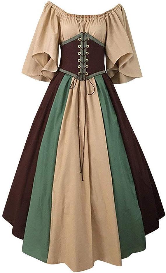 POLP Halloween Mujer Vestidos de Fiesta Largos Medieval Vintage ...
