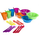 Arrow Sip-A-Bowl + Arrow Sip-A-Cup With Built In Straw + Kids Cutlery Set of a Fork Knife and Spoon | 4 Place settings | BPA Free and Dishwasher Safe | 20 Piece Bundle