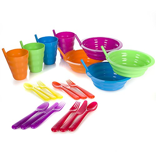 (Arrow Sip-A-Bowl + Arrow Sip-A-Cup With Built In Straw + Kids Cutlery Set of a Fork Knife and Spoon | 4 Place settings | BPA Free and Dishwasher Safe | 20 Piece Bundle)