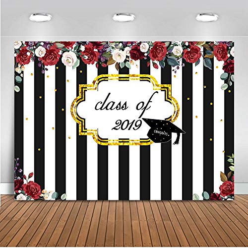 Mocsicka Class of 2019 Graduation Backdrop 7x5ft Black and White Striped Red Rose Floral Photography Background Congrats Graduation Party Photo -