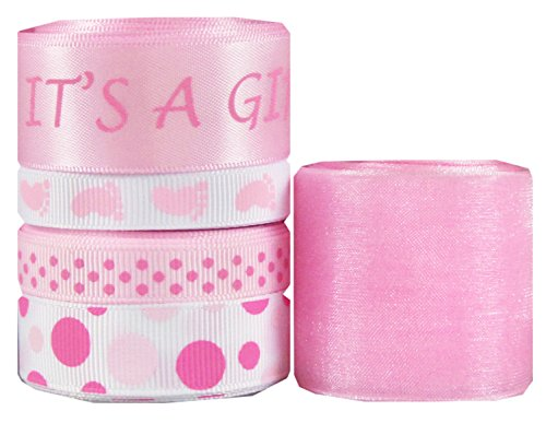 Shower Printed Confetti (Hipgirl 25 Yards It's a Girl Baby Shower 3/8